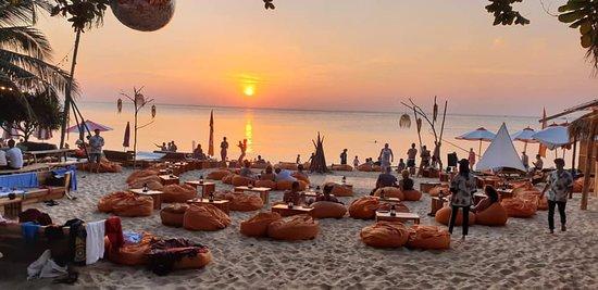 The beautiful sunset on the beach