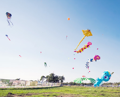 The sky dominated by kites in a festival