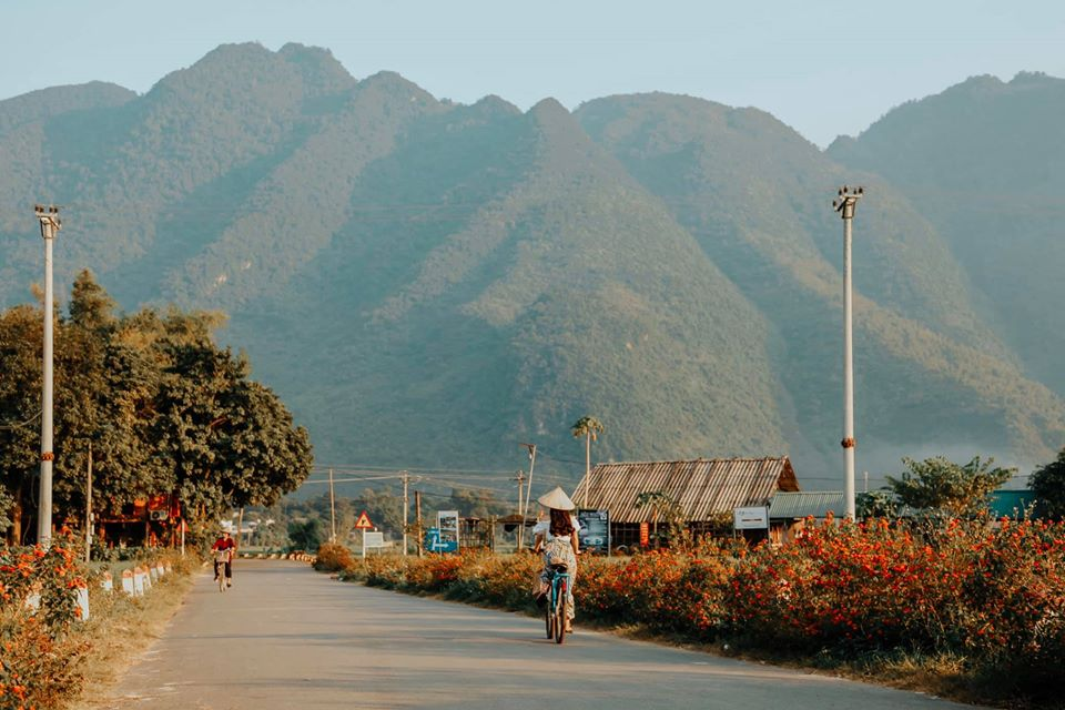Cycling around the village to explore the local life