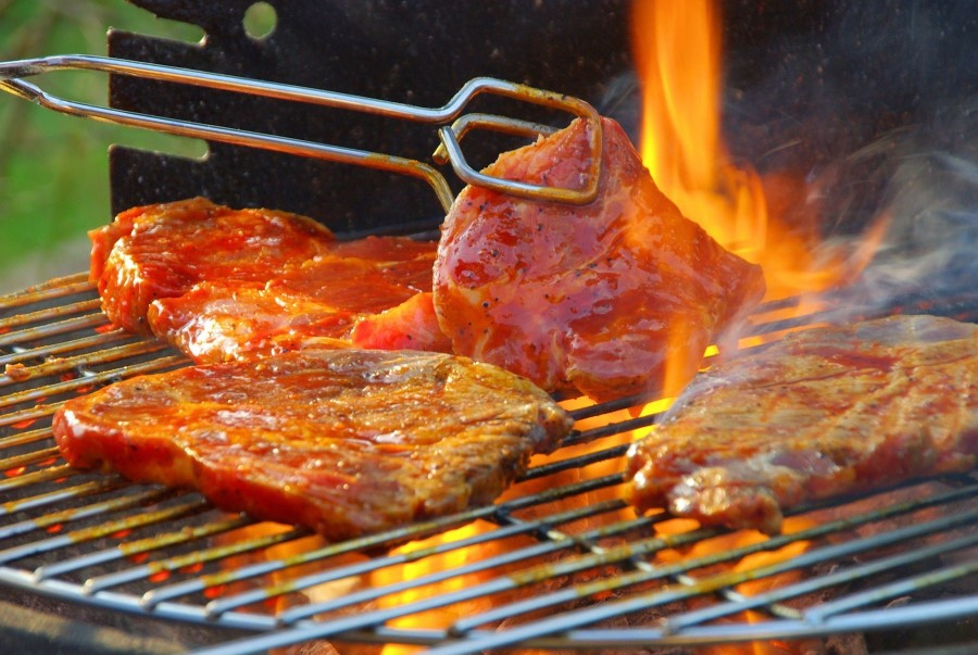Then beef is grilled evenly