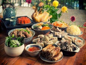 Tet holiday in Vietnam: offering food and ghost money